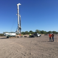 A flight auger rig on site to install surface casings  beginning with Recovery Well 1 (Oct 25.17)
